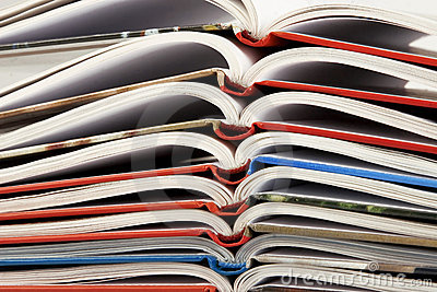 Pile of book with bending pages