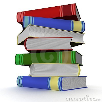 Pile of books. 3D image.