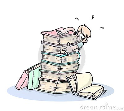 Pile of books and boy