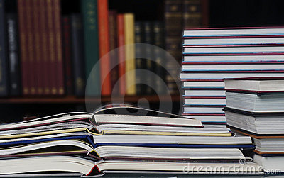 Pile of books in library