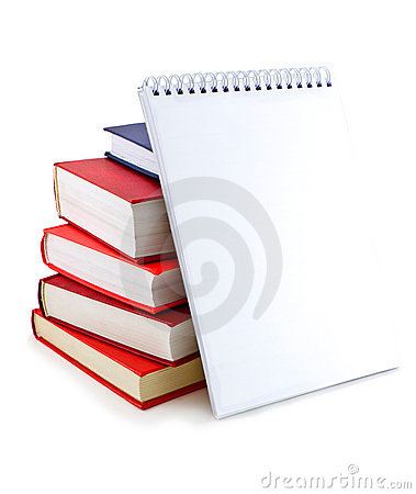 Pile of books and notebook with white sheets.