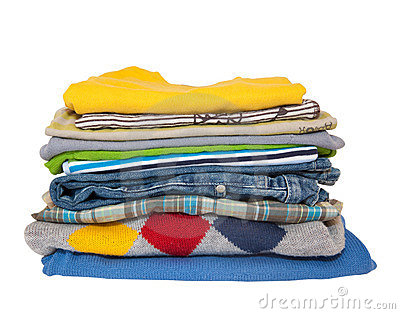 Boys Fashion Jeans on Pile Of Boys Clothes Isolated On White Background  Click Image To