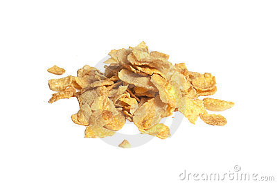 Pile of breakfast corn flakes, isolated