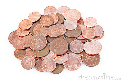 Pile of british coins in a white background