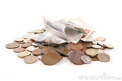 Pile of British currency money cutout