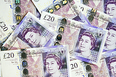 A pile of British twenty pounds currency Editorial Photography