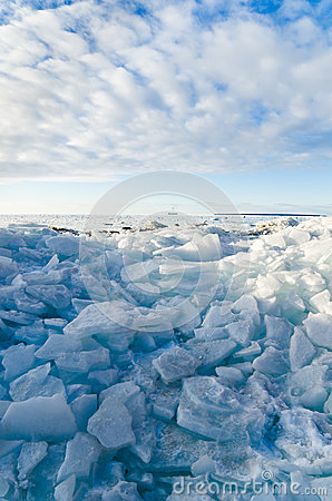 Pile of broken ice floes on the Sea
