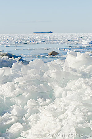 Pile of broken ice floes on the Baltic Sea