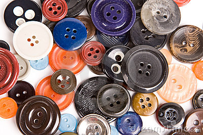 Pile of buttons close up