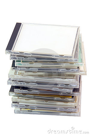 Pile of cd cases with path