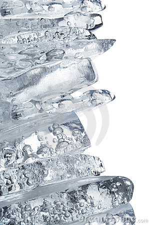 Pile of clear ice