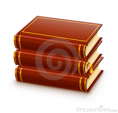 Pile of closed red books
