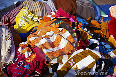 Pile of clothes on the flea market