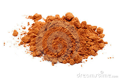 Pile of cocoa powder on white