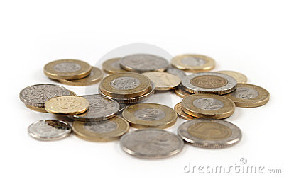 Pile of coin money isolated