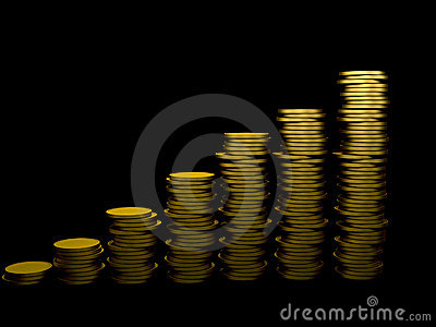 Pile of coins ascending