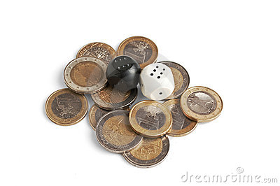 Pile of coins and dice