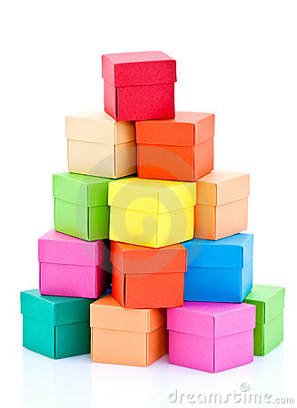 Pile of colored boxes