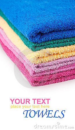 Pile of colorful bath towels