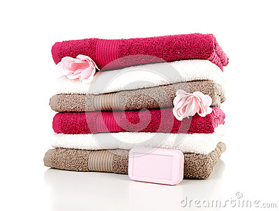 Pile of colorful towels and soap