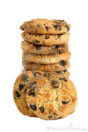 Pile of cookie with chocolate chips