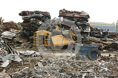 Pile of Crushed Cars at Scrap Yard