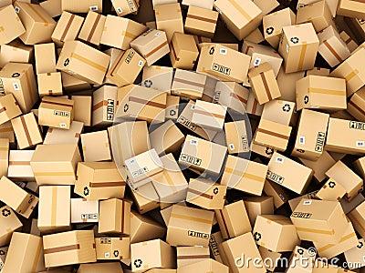 La collection de Gatsu ^^ Pile-de-bo%C3%AEtes-ou-de-colis-de-la-livraison-de-carton-concept-d-entrep-t-53910098