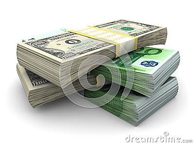 Pile de $100 et de factures 100€