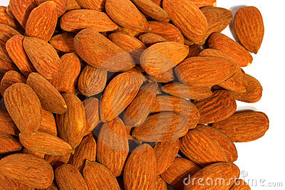A pile of delicious natural almonds