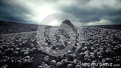 Pile des crânes Concept d'apocalypse et d'enfer Animation 4k cinématographique réaliste banque de vidéos