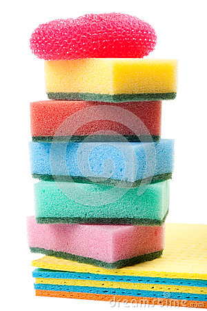 Pile of dish washing sponge, dishcloth, scrub pad