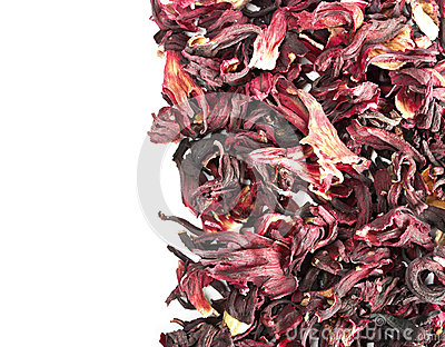 Pile of dried petals of hibiscus