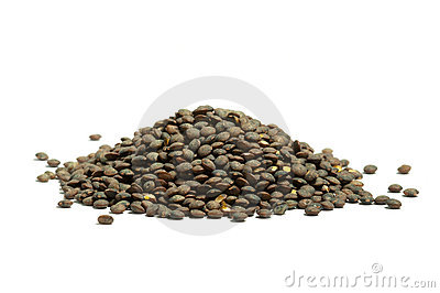 Pile of dry  french green puy lentils, isolated