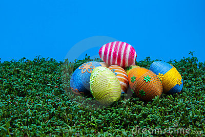 Pile of easter eggs on cress