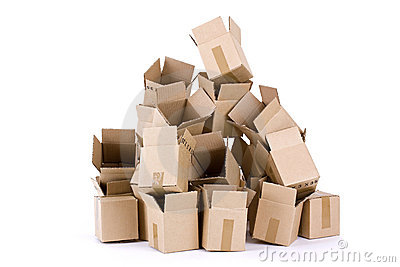 Pile of empty cardboard boxes