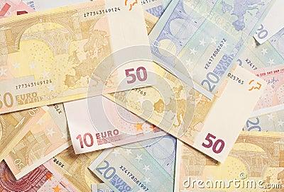 Pile of Euro Bills for Spending