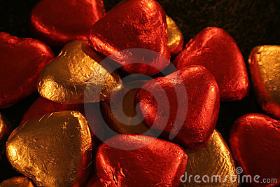 Pile of Foil Hearts