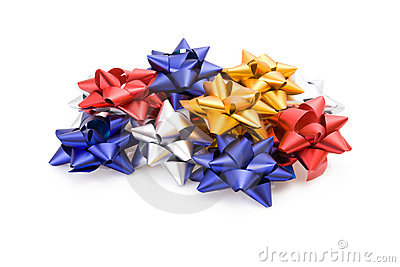 Pile of gift bows isolated on white