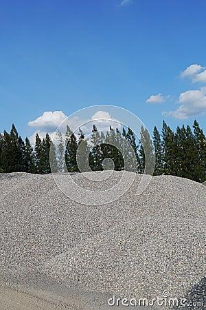 Pile of gravel,crushed stones material ,Asphalt plant , thailand