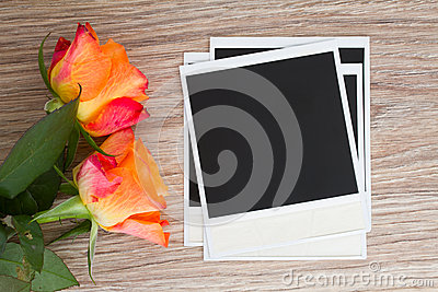 Pile of instant photo with roses