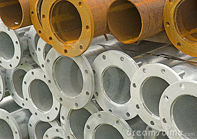 Pile of iron and steel pipes.