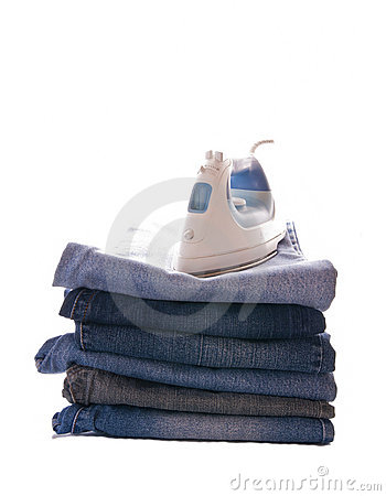 Pile of jeans and an iron
