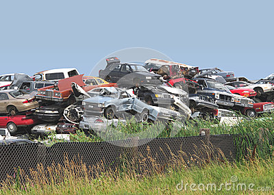 Pile of junked and wrecked cars.