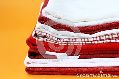 Pile of linen kitchen towels