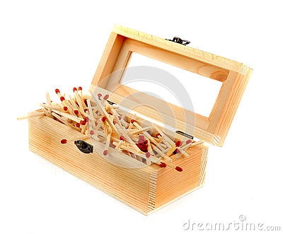 Pile of Matches In a Wooden Box