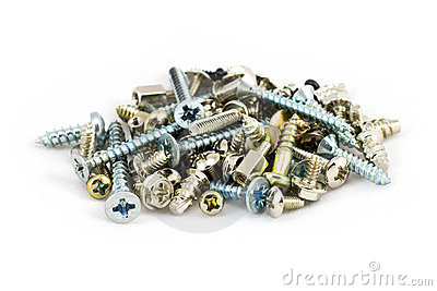 Pile Of Metal Screws  On White