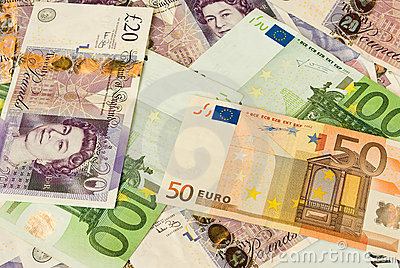 Pile of money containing pounds and euros