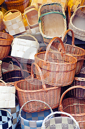 Free Pile Of Baskets Royalty Free Stock Images - 27058499