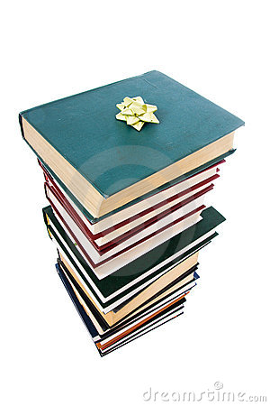 Free Pile Of Books In Gift Packing Isolated Stock Image - 4445481