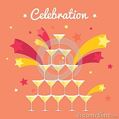 Free Pile Of Champagne Glasses. Celebration With Firework. Fullcolored Flat Image Stock Photo - 51165080
